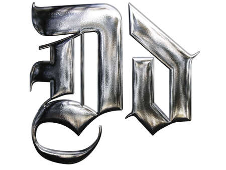 Metallic patterned letter of german gothic alphabet font. Letter D