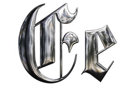 gothique: Motifs m�talliques lettre de l'alphabet allemand gothique police. Lettre E Banque d'images