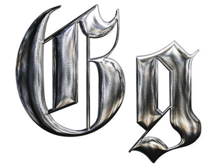 Metallic patterned letter of german gothic alphabet font. Letter G