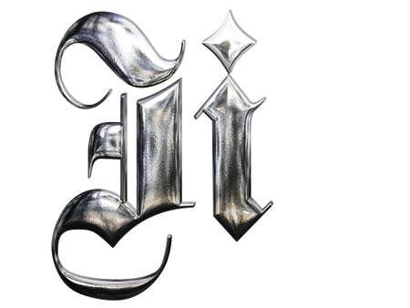 gothique: Motifs m�talliques lettre de l'alphabet allemand gothique police. Lettre I Banque d'images