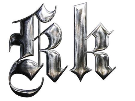 gothique: LETTRE r�p�t� m�tallique de la police allemande alphabet gothique. Lettre K