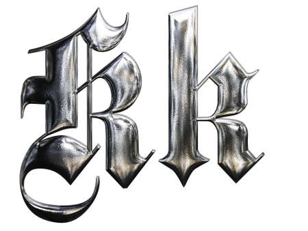metallic grunge: Metallic patterned letter of german gothic alphabet font. Letter K