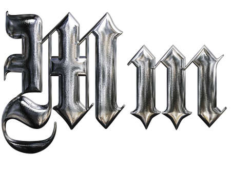 gothic design: Metallic patterned letter of german gothic alphabet font. Letter M