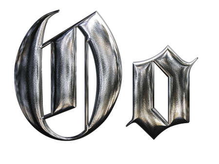 Metallic patterned letter of german gothic alphabet font. Letter O photo