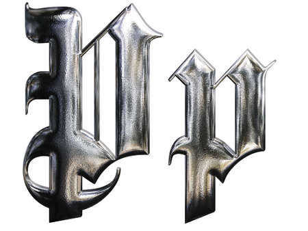 Metallic patterned letter of german gothic alphabet font. Letter P photo