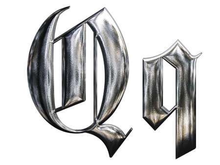 Metallic patterned letter of german gothic alphabet font. Letter Q photo