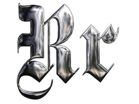 gothique: LETTRE r�p�t� m�tallique de la police allemande alphabet gothique. Lettre R Banque d'images