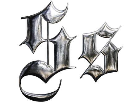 letra s: Met�lico modelo de carta alfabeto g�tico alem�n fuente. Letra S Foto de archivo