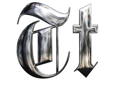 Metallic patterned letter of german gothic alphabet font. Letter T photo
