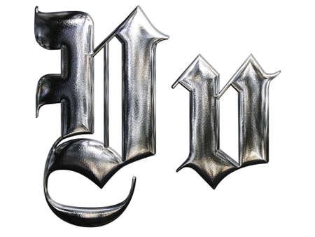 letter v: Metallic patterned letter of german gothic alphabet font. Letter V Stock Photo