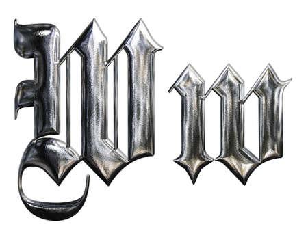 Metallic patterned letter of german gothic alphabet font. Letter W
