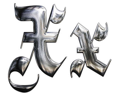 Metallic patterned letter of german gothic alphabet font. Letter X Stock Photo - 4701775
