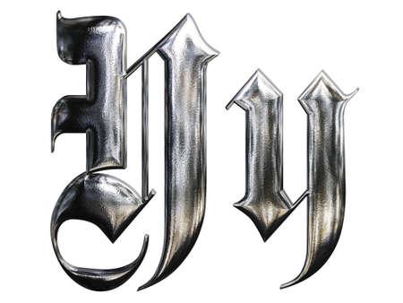 Metallic gemusterten Schreiben vom Deutsch gotische Schrift Schrift. Buchstabe Y Lizenzfreie Bilder - 4701744
