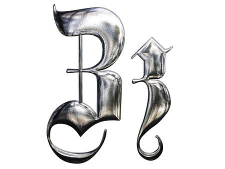Metallic patterned letter of german gothic alphabet font. Letter Z photo