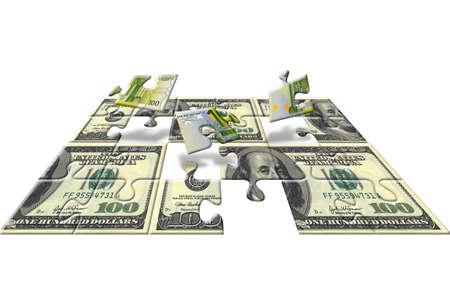 Euro and dollar puzzle, isolated on white background Stock Photo - 4745151