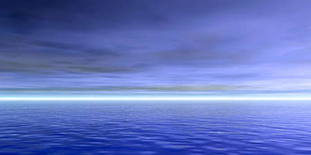 Blue cludy sky and ocean water with waves - panorama photo