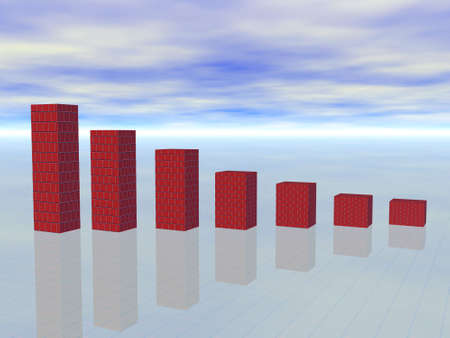 Falling red graph with reflections over cloudy blue sky - crisis concept Stock Photo - 4745176