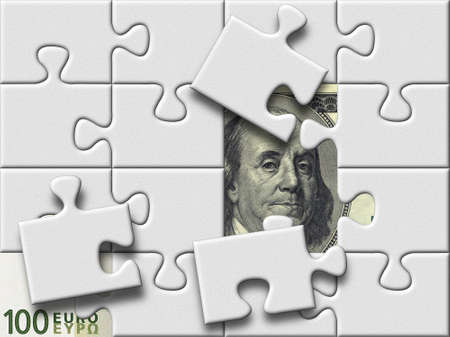 dollar and euro banknotes under missing pieses of gray puzzle map photo