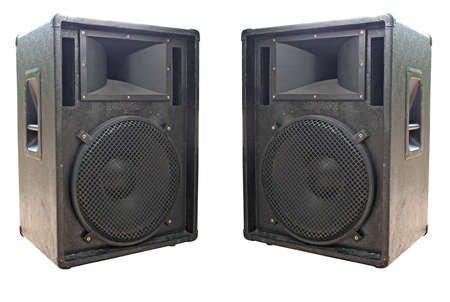 two old concerto audio speakers on white background photo