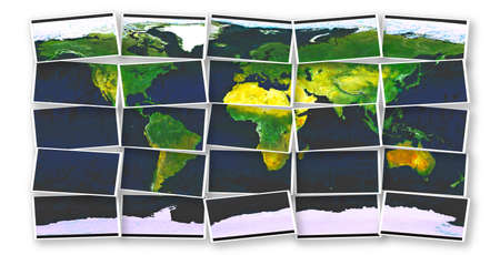 world map made from pieces over white photo
