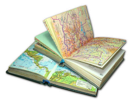 Two old map atlas books isolated over white background photo