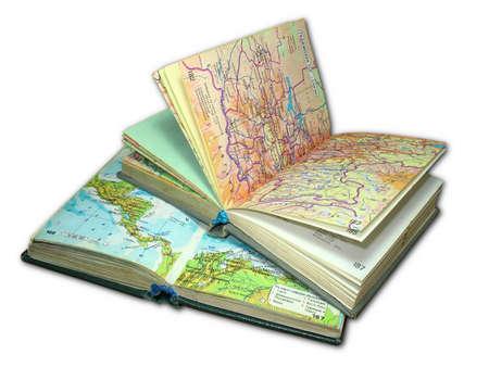 Atlas: Zwei alte Karte Atlas B�cher isolated over white background