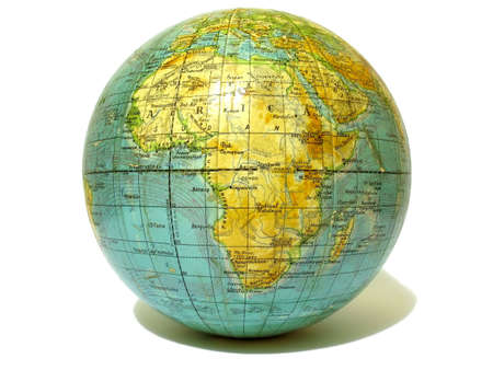 east africa: Old school globe isolated over white background Stock Photo
