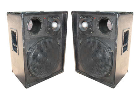 two old concerto audio speakers isolated on white background photo