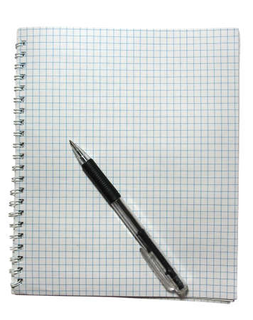 notebook with black pen isolated on white photo