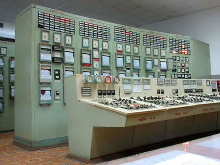 Control panel  of steam turbine at electric power plant photo
