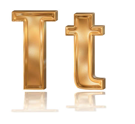 3d golden patterned font with reflection, letter T photo