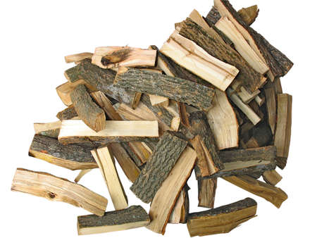 stack of cut logs fire wood isolated over white photo