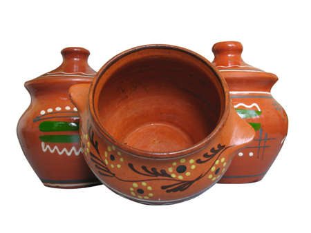 Keramische patroon klei aardewerk geïsoleerd op witte achtergrond