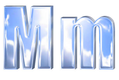 Metal alphabet font symbol with blue sky and clouds reflection, letter M photo