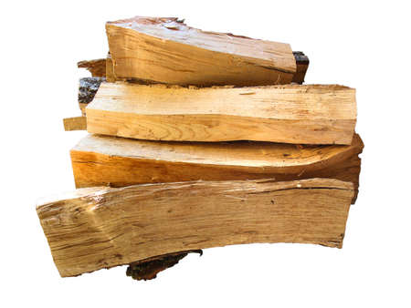 stack of firewood  logs for the stove isolated over white background photo