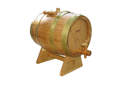 wooden barrel for wine isolated over white background photo