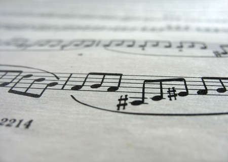 Close-up musical notes sheet with focus in center Stock Photo - 5603740