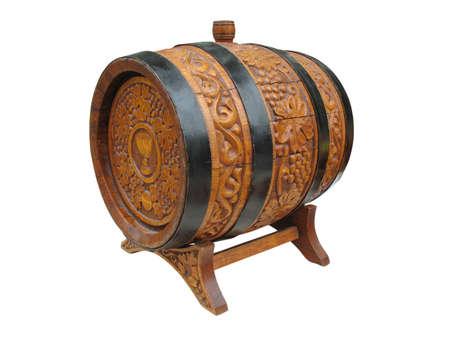 Vintage versierde decor wijn vat op wit wordt geïsoleerd