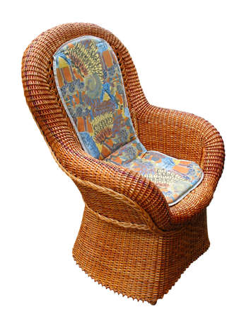 vintage pattern wooden armchair isolated over white - home decor photo