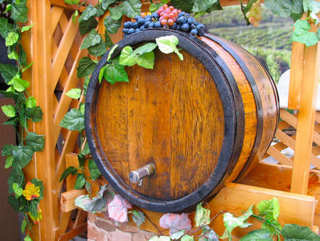 vintage ornate decor handmade wooden wine barrel photo