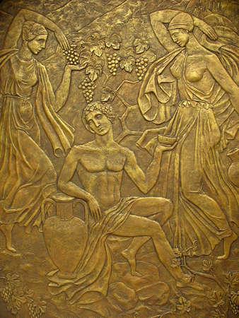 escultura romana: Bajorrelieve de cobre sobre la base de los antiguos mitos griegos