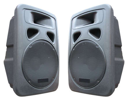 two old concerto audio speakers on white background Stock Photo - 5728051