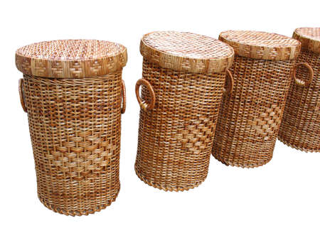 Wickerwork wood baskets isolated over white background photo