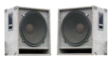 concerto: two old concerto audio speakers on white background