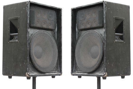 two old concerto audio speakers on white background Stock Photo - 5911855