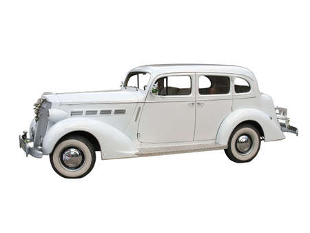 retro vintage white dream wedding car isolated over white background