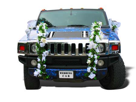 Luxe droom bruiloft auto blauw sierlijke over Wit
