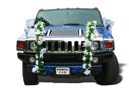 Luxury dream wedding car blue ornate over white photo