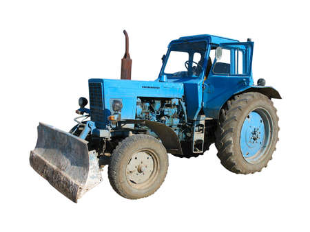 Old blue vintaje tractor isolated over white background photo