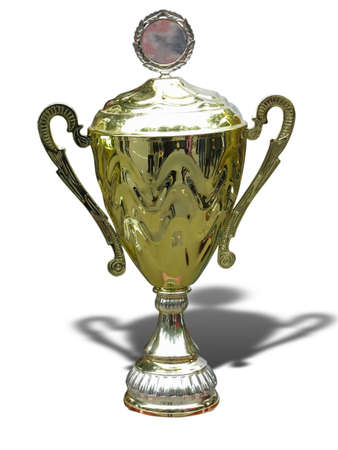 Gold trophy cup with blank space isolated on white background Standard-Bild